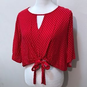 Mossimo Red White Polka Dot Crop Top Tie Blouse L